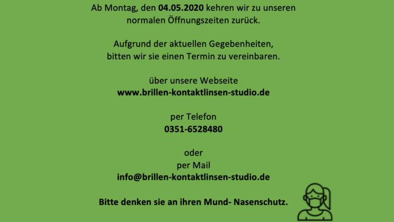 Öffnungszeiten ab Mai 2020